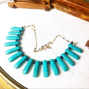 Jewelry - Turquoise bib necklace with 14k gold chain